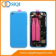 Boîtier arrière pour iPhone 5C, couvercle de remplacement pour iPhone 5C, couverture arrière iphone 5C, couvrir de retour avec de petites pièces, couverture bleue pour iPhone
